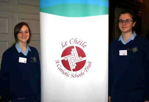 Pupils from Maryfield College(left)  Sr Carmel Gorman CP and pupils from Cross and Passion College Kilcullen at the Le Cheile Conference February 3rd 2017
